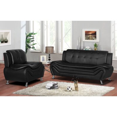 Sifford 2 Piece Living Room Set Upholstery: Black