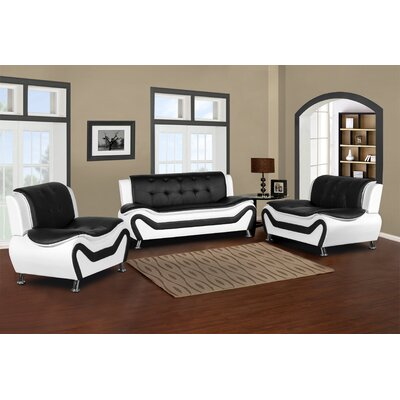 Sifford 3 Piece Living Room Set Upholstery: Black/White