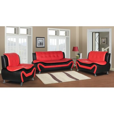 Sifford 3 Piece Living Room Set Upholstery: Black/Red
