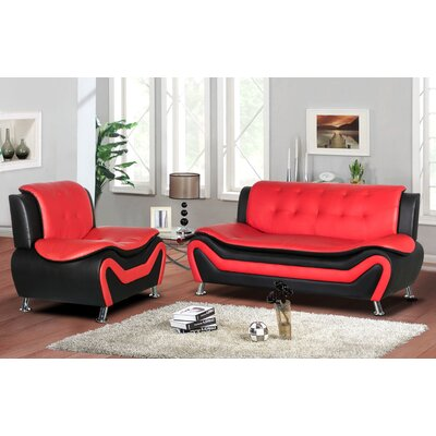 Sifford 2 Piece Living Room Set Upholstery: Black/Red