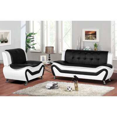 Sifford 2 Piece Living Room Set Upholstery: Black/White