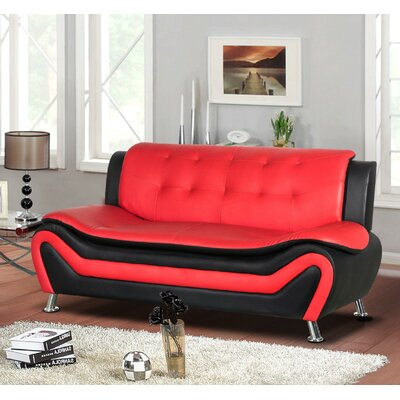 Sifford Sofa Upholstery: Black/Red