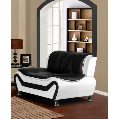 Sifford Loveseat Upholstery: Black/White
