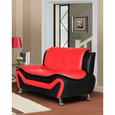 Sifford Loveseat Upholstery: Black/Red