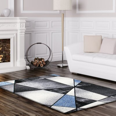 Crossen Abstract Gray/Blue Area Rug Rug Size: Rectangle 53 x 75