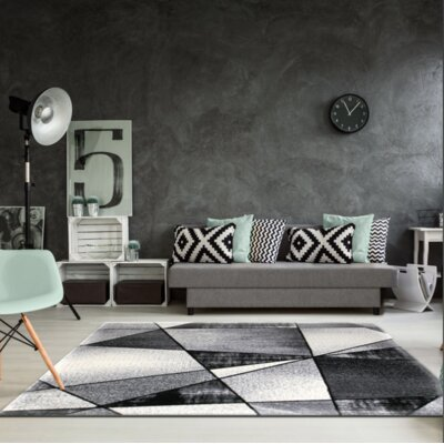 Crossen Abstract Gray Area Rug Rug Size: Rectangle 63 x 93