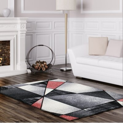 Crossen Abstract Gray/Black Area Rug Rug Size: Rectangle 63 x 93