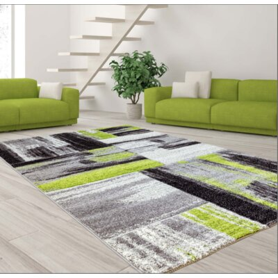 Croskey Abstract Green/Gray Area Rug Rug Size: Rectangle 311 x 53