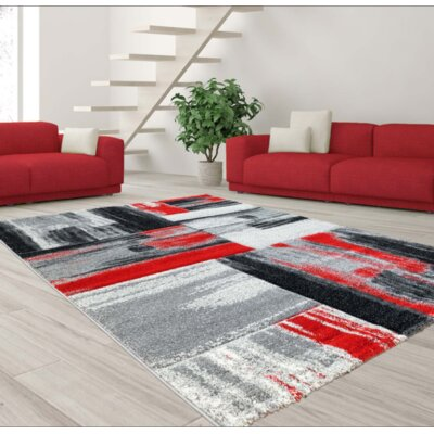 Croskey Abstract Red/Gray Area Rug Rug Size: Rectangle 53 x 75