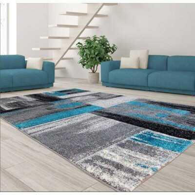Croskey Abstract Blue/Gray Area Rug Rug Size: Rectangle 63 x 93