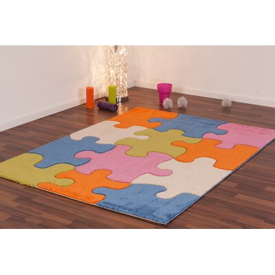 Howton Kids Jigsaw Puzzle Blue/Green Area Rug Rug Size: Rectangle 311 x 53