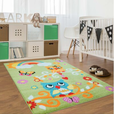 Howton Kids Owl Green/Orange Area Rug Rug Size: Rectangle 53 x 75