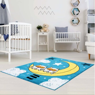 Howton Kids Owl Moon Blue/Yellow Area Rug Rug Size: Rectangle 63 x 93