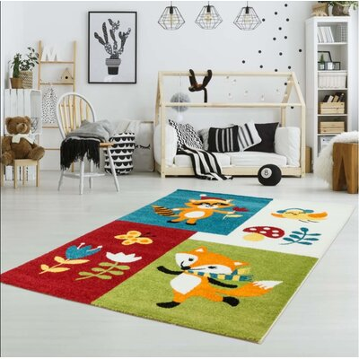 Howton Kids Fox Red/Green Area Rug Rug Size: Rectangle 53 x 75