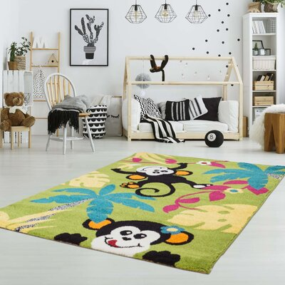 Howton Kids Monkeys Tropical Green/Black Area Rug Rug Size: Rectangle 63 x 93
