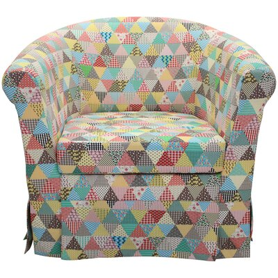 Hepler Skirted Barrel Chair Upholstery: Blue/Yellow/Peach
