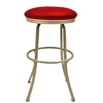 Podington 33 Swivel Bar Stool Frame Color: Beige, Seat Color: Fire Red