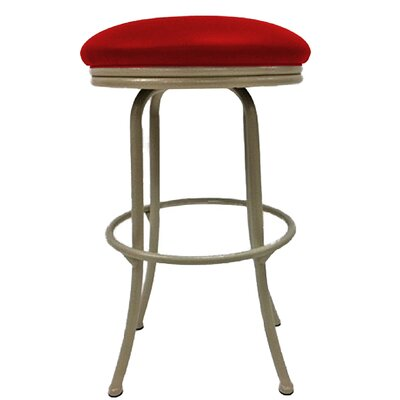 Podington 26 Swivel Bar Stool Frame Color: Beige, Seat Color: Fire Red