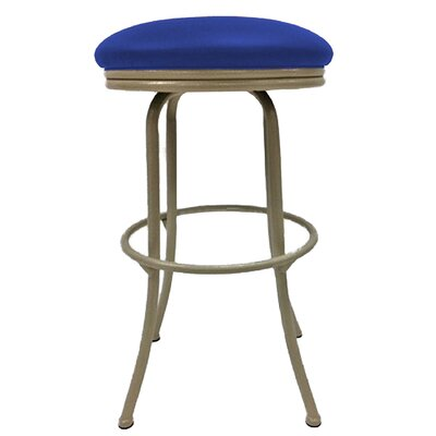 Podington 33 Swivel Bar Stool Frame Color: Beige, Seat Color: Blue