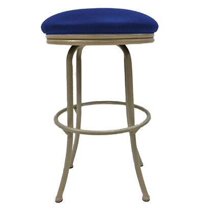Podington 26 Swivel Bar Stool Frame Color: Beige, Seat Color: Blue