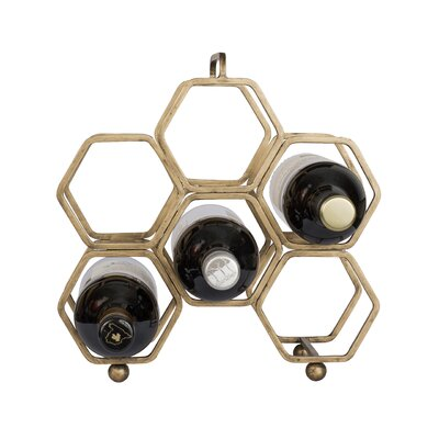 Hexagonal 6 Bottle Tabletop Wine Rack Finish: Havana Gold