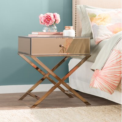 Desid�rio End Table With Storage Color: Champagne Gold Plated