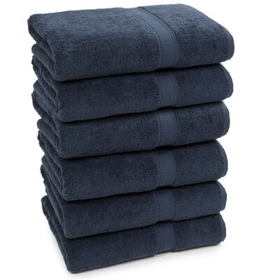 Toscano Terry 100% Cotton Bath Towel Color: Navy