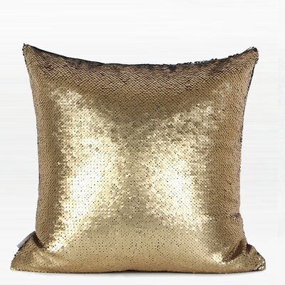 Murphree Sequins Pillow Color: Gold/Black, Fill Material: No Fill, Product Type: Pillow Cover