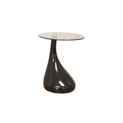 Wendler Glass Top End Table Table Base Color: Black