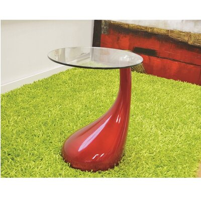 Wendler Glass Top End Table Table Base Color: Red