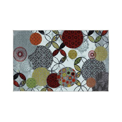 Magee Gray/Red Area Rug Rug Size: Rectangle 5 x 8