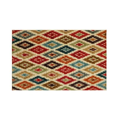 Gafford Red/Beige Area Rug Rug Size: Rectangle 5 x 8