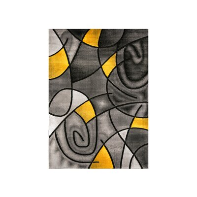 Mahle Charcoal/Yellow Area Rug Rug Size: Rectangle 5 x 7.2