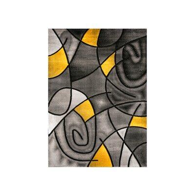 Mahle Charcoal/Yellow Area Rug Rug Size: Rectangle 7.9 x 10