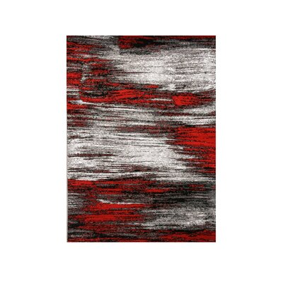 Mahlum Gray/Red Area Rug Rug Size: Rectangle 7.9 x 10