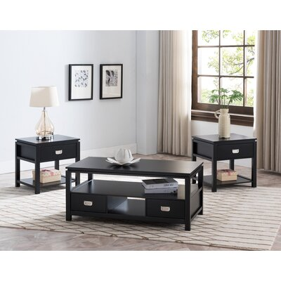 Groce 3 Piece Coffee Table Set Color: Black