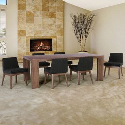 Crume 7 Piece Dining Set Chair Color: Liqurice
