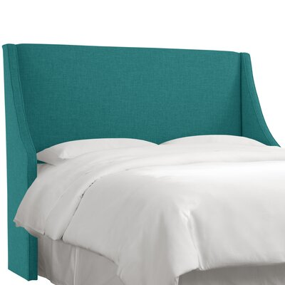 Crumrine Swoop Arm Upholstered Wingback Headboard Size: King, Color: Zuma Peacock