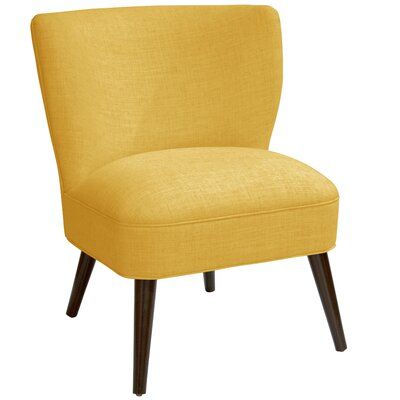 Harpe Curved Side Chair Color: Linen French Yellow