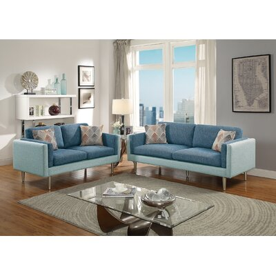 Lucero 2 Piece Living Room Set Upholstery: Blue/Aqua