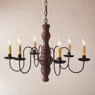 Whitechapel Wood 6-Light Candle-Style Chandelier Finish: Hartford Red over Black