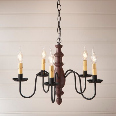 Vincent Wood 5-Light Candle-Style Chandelier Finish: Americana Red