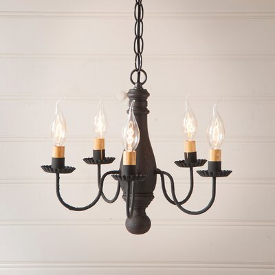 Vistawood Bed and Breakfast 5-Light Candle-Style Chandelier Finish: Hartford Black over Red