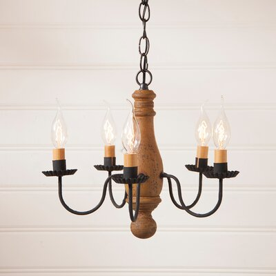 Vistawood Bed and Breakfast 5-Light Candle-Style Chandelier Finish: Hartford Mustard over Red