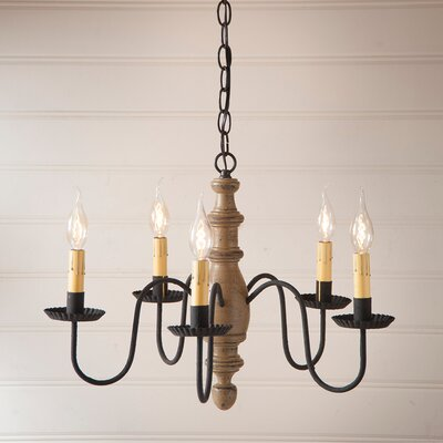 Vincent Wood 5-Light Candle-Style Chandelier Finish: Americana Pearwood
