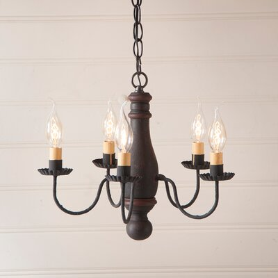 Vistawood Bed and Breakfast 5-Light Candle-Style Chandelier Finish: Hartford Black with Red Stripe