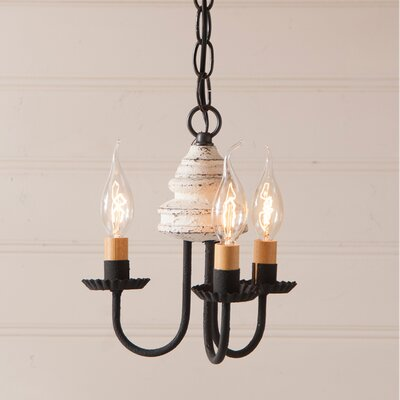 Whitehorn Wood 3-Light Candle-Style Chandelier Finish: Americana White