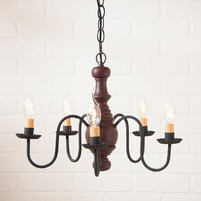 Vinoy Wood 5-Light Candle-Style Chandelier Finish: Americana Red