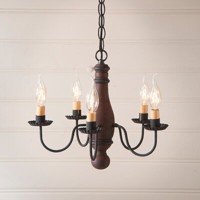 Vistawood Bed and Breakfast 5-Light Candle-Style Chandelier Finish: Hartford Red with Black Stripe