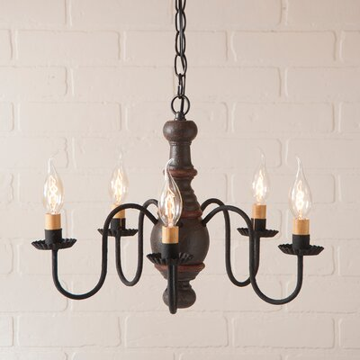 Vinoy Wood 5-Light Candle-Style Chandelier Finish: Americana Espresso